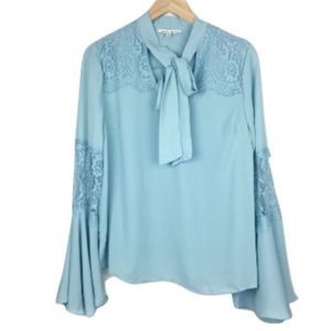 NWT Haute Monde Blue Lace Bell-Sleeve Blouse